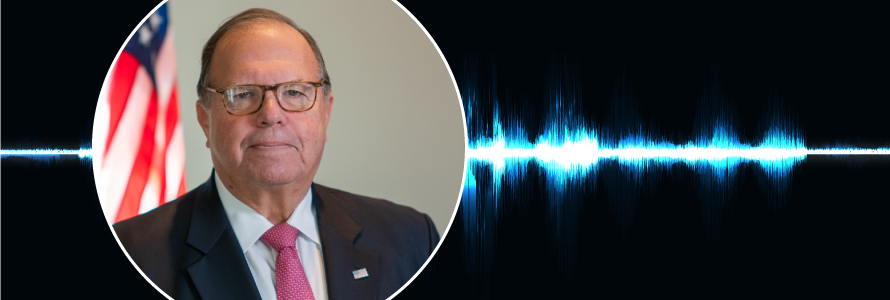 "Headshot of Edward Horowitz; Public Safety First podcast logo; blue audio wave line; ""Edward Horowitz – Shaping FirstNet from need to reality"""