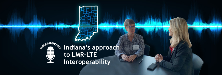 Black background with a voice wavelength pattern in blue crossing it  Outline map of Indiana in blue with counties depicted  Kelly Dignin seated at a table speaking with Lesia Dickson