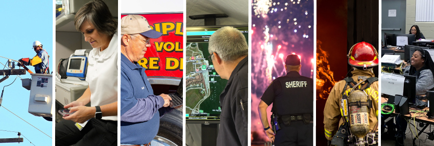 Electrical worker fixing telephone wire; EMS worker using smartphone in the back of an ambulance; volunteer fireman using tablet in front of fire engine; emergency manager looking at a map on a screen; sheriff watching fireworks; firefighter; 9-1-1 operator sitting at a computer