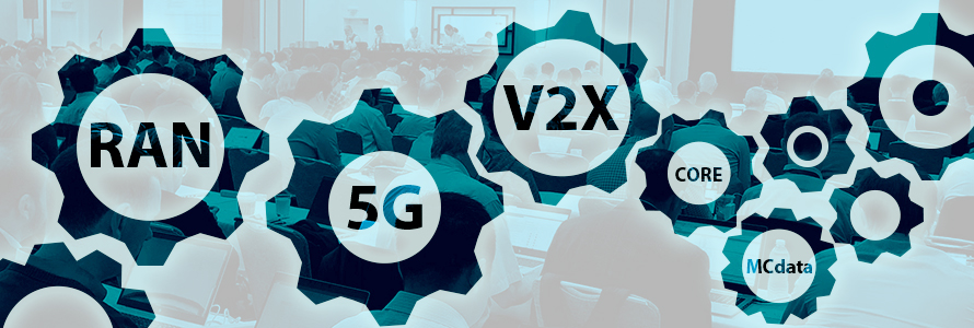 Photo of a 3GPP meeting room with people sitting at tables and working on computers, overlaid with gear icons and wireless network terminology: RAN, 5G, V2X, Core, MCdata.