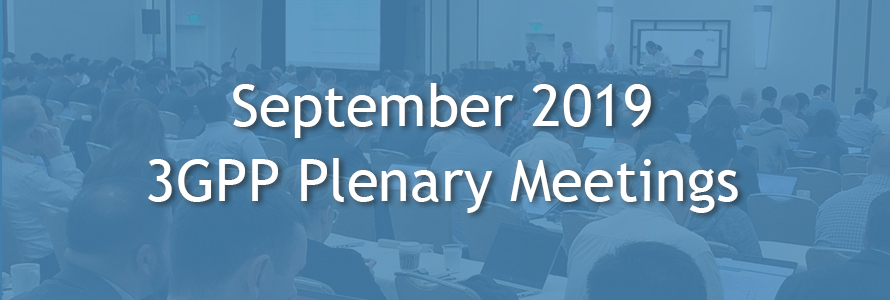 """September 2019 3GPP Plenary Meetings"" over an image of 3GPP meeting attendees listening and taking notes on laptops as a panel of four speakers at the front give a presentation."