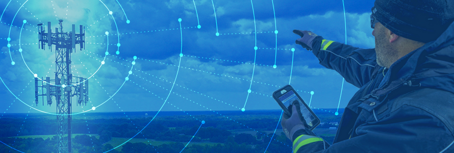 A network radiates from a tower, a responder holding a smartphone points towards the tower