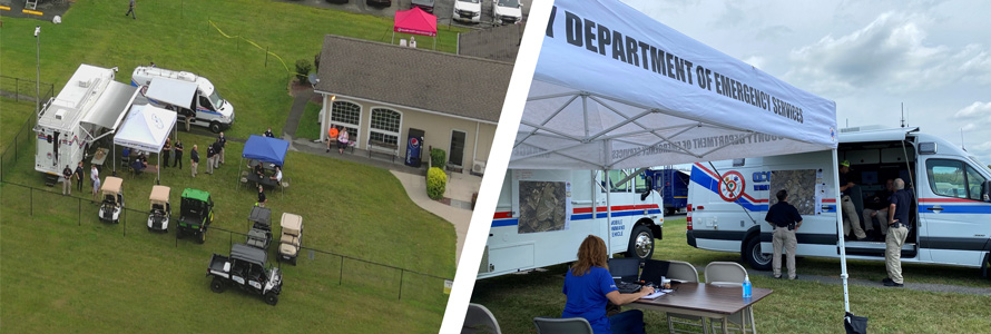 """Assess broadband at an incident with After Action Review""; FirstNet Authority logo; Aerial view of incident exercise; Mobile Command vehicle with first responders"