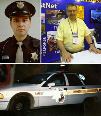 Three imaes:Young Brent Williams in uniform, Brent Williams manning a FirstNet exhibit booth, an Ingham County (MI) Sheriff's Office paramedics vehicle