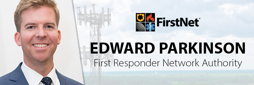 Photo of Edward Parkinson and an image of cellphone tower with the First Responder Network Authority logo