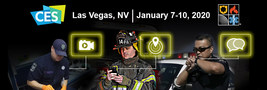 "CES logo, FirstNet Authority watermark, ""Las Vegas, NV 