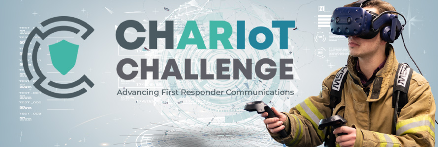 CHARIoT Challenge logo; firefighter in turnout gear wears virtual reality goggles; technology elements