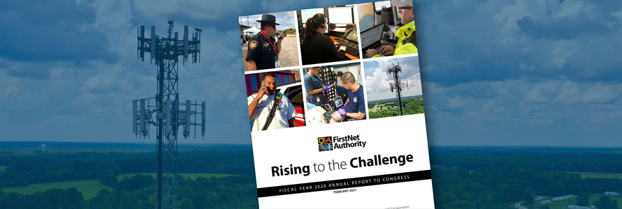 Annual Report to Congress publication cover; Cell phone tower