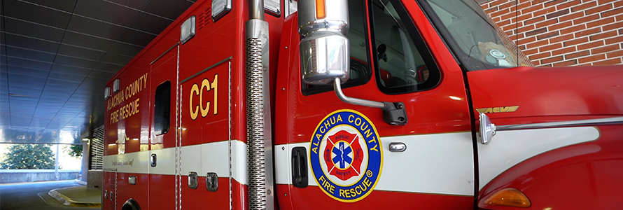 Alachua County Fire Rescue truck parked inside fire station