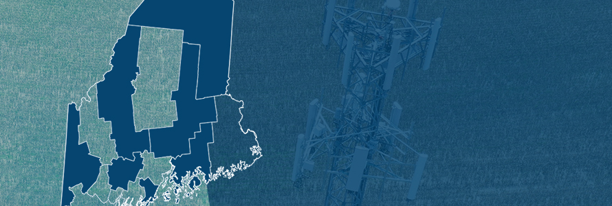 The State of Maine, with outlined county boarders; a cell tower.