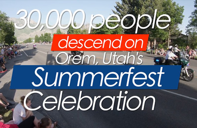 "The words ""30,000 people descended on Orem, Utah's Summerfest Celebratin"" over an image of motocyclists in the parade watched by onlookers on the side of the road"