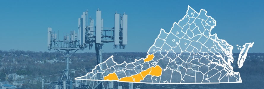 The state of Virginia, with outlined county borders; a cell tower.