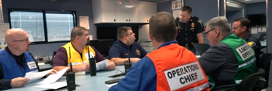 Emergency management personnel using FirstNet –enabled phone.