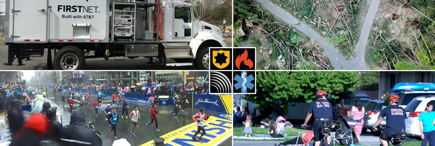 The FirstNet logo with four images: a SatColt, tree damage after a storm, runners crossing the finish line at the Boston marathon, and two police officers on duty riding bicycles