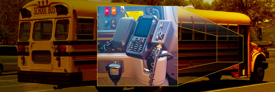 Image of a school bus with a pull-out visual of FirstNet communication equipment used to connect the Carroll County, Maryland bus fleet.