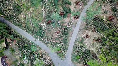 Aerial view of the damage caused by the May 15, 2018 storm in Brookfield, CT.