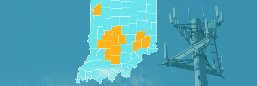 The state of Indiana, with outlined county borders; a cell tower.