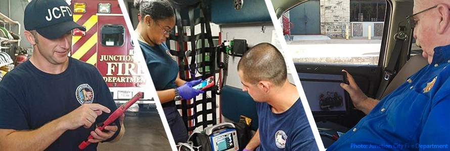 Image 1: In an ambulance, one first responder looks at a tablet and another first responder looks at a monitor connected to a patient.  Image 2: First responder looks at a tablet standing in front of a Junction City Fire Department vehicle.  Image 3: A first responder sitting in the driver's seat of a vehicle looks at the screen of a tablet.