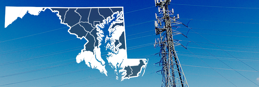 County map of Maryland, FirstNet tower