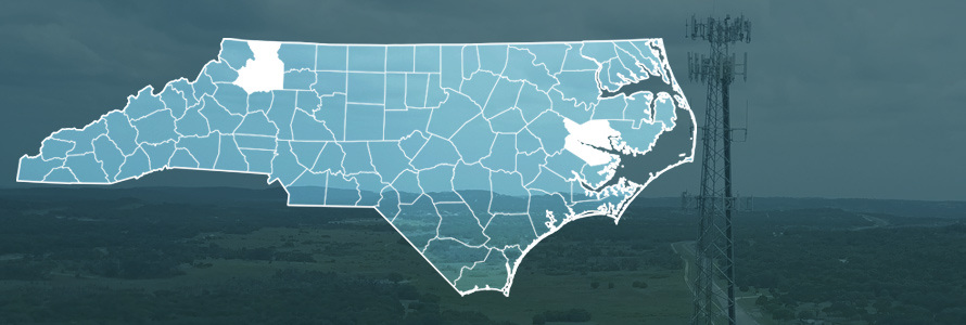 County map of North Carolina, cell tower