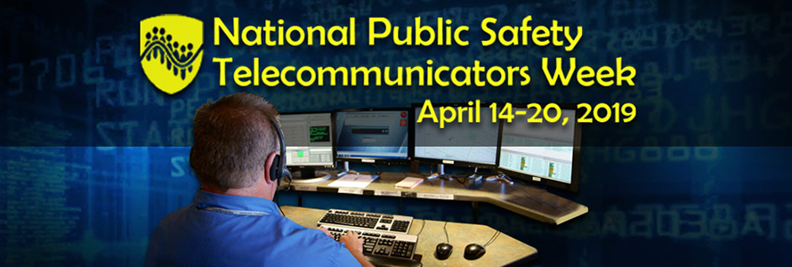 During National Public Safety Telecommunicators Week, we celebrate our nation's 9-1-1 telecommunicators and dispatchers and the important work they do. Image shows a man sitting in front of four computer monitors showing 9-1-1 information.