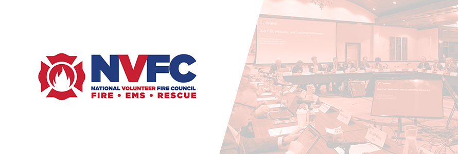 The National Volunteer Fire Council (NVFC) Logo is placed alongside an image of the NVFC making a presentation at a FirstNet Board Meeting.