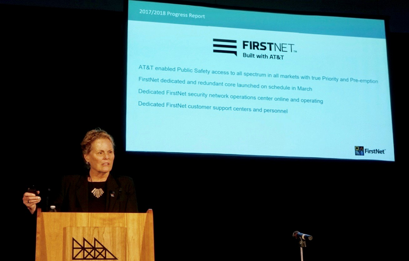FirstNet Chair Sue Swenson Delivers Keynote at the 2018 PSCR Public Safety Broadband Stakeholder Meeting.