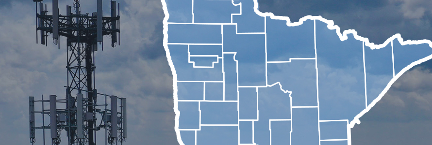 Map of Minnesota with county lines, purpose-built FirstNet cell site.
