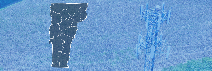 County map of Vermont, FirstNet tower near a field