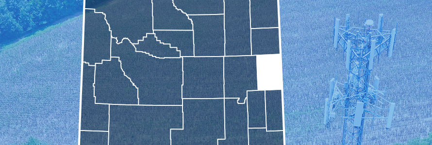 Map of Wyoming showing county lines with Niobrara County highlighted, purpose-built FirstNet cell site