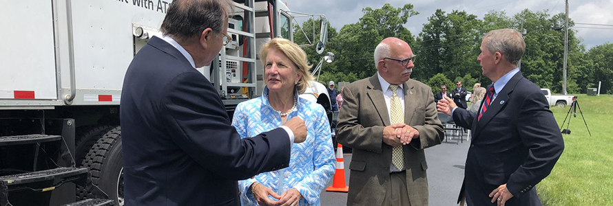 FirstNet Board Chair Ed Horowitz and U.S. Senator Shelley Moore Capito speak at a groundbreaking in Preston County