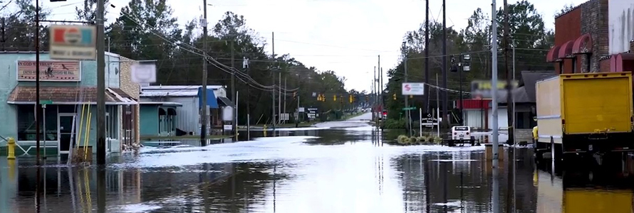 Flooding in a street due to Hurricane Florence