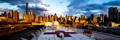 Navy medical ship deck with New York City skyline