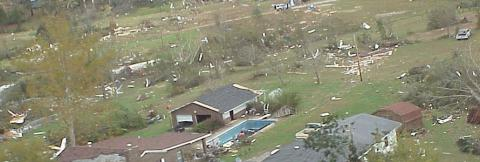 Aeria view of tornado damage to buildings