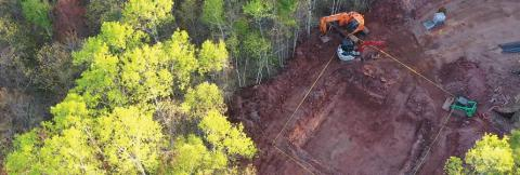 Aerial view of excavation for a cell tower