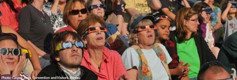 Visitors to Casper, Wyoming watch a solar eclipse
