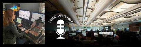 Emergency Communications Center dispatcher in front of monitor plus podcast/microphone logo