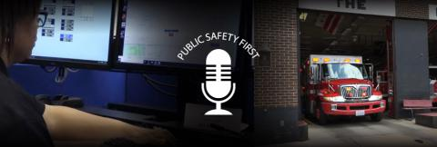 Public Safety First podcast logo; women facing computer screen and a fire truck