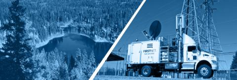 An aerial view of a body of water surrounded by trees. A FirstNet deployable Satellite Cell on Light Truck (SatCOLT).