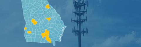 The state of Georgia, with outlined county boarders; a cell tower
