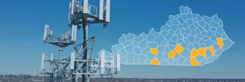 The State of Kentucky, with outlined county boarders; a cell tower