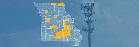 The state of Missouri, with outlined county borders; a cell tower.