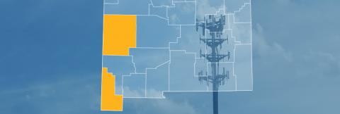 The state of New Mexico, with outlined county borders; a cell tower.