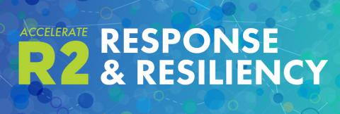 Graphic with connected dots and title of the Accelerate R2 Response and Resiliency program