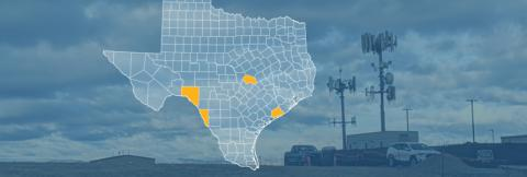 The state of Texas, with outlined county borders; a cell tower.