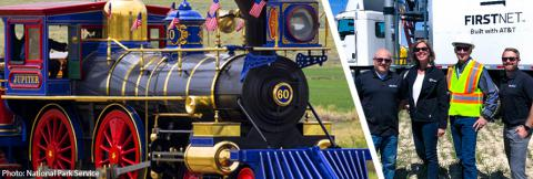 Photo of a replica steam locomotive train at Golden Spike National Historical Park next to a photo of FirstNet Authority Senior Public Safety Advisor Tracey Murdock and FirstNet AT&T standing in front of a FirstNet deployable.