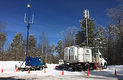 AT&T's Satellite Cellsite on Light Truck (right) deployed next to the state's Site on Wheels trailer (left) at the 2019 American Birkebeiner. Submitted photo