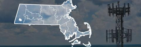 Map of Massachusetts counties with Monterey highlighted over image of broadband tower and clouds.