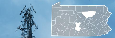 County map of Pennsylvania, cell tower