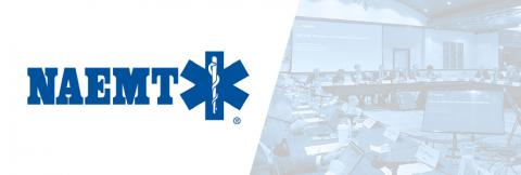 The National Association of Emergency Medical Technicians (NAEMT) logo and image of Public Safety Advisory Committee representatives making a presentation at a FirstNet Authority Board Meeting.